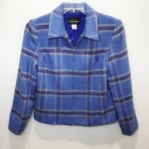 Requirements Blue Plaid Jacket / Blazer sz 12